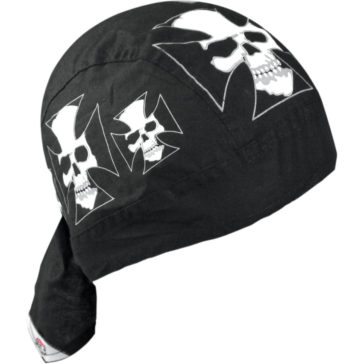ZAN HEADGEAR Iron Cross Skull Flydanna® Headwrap [2504-0200]